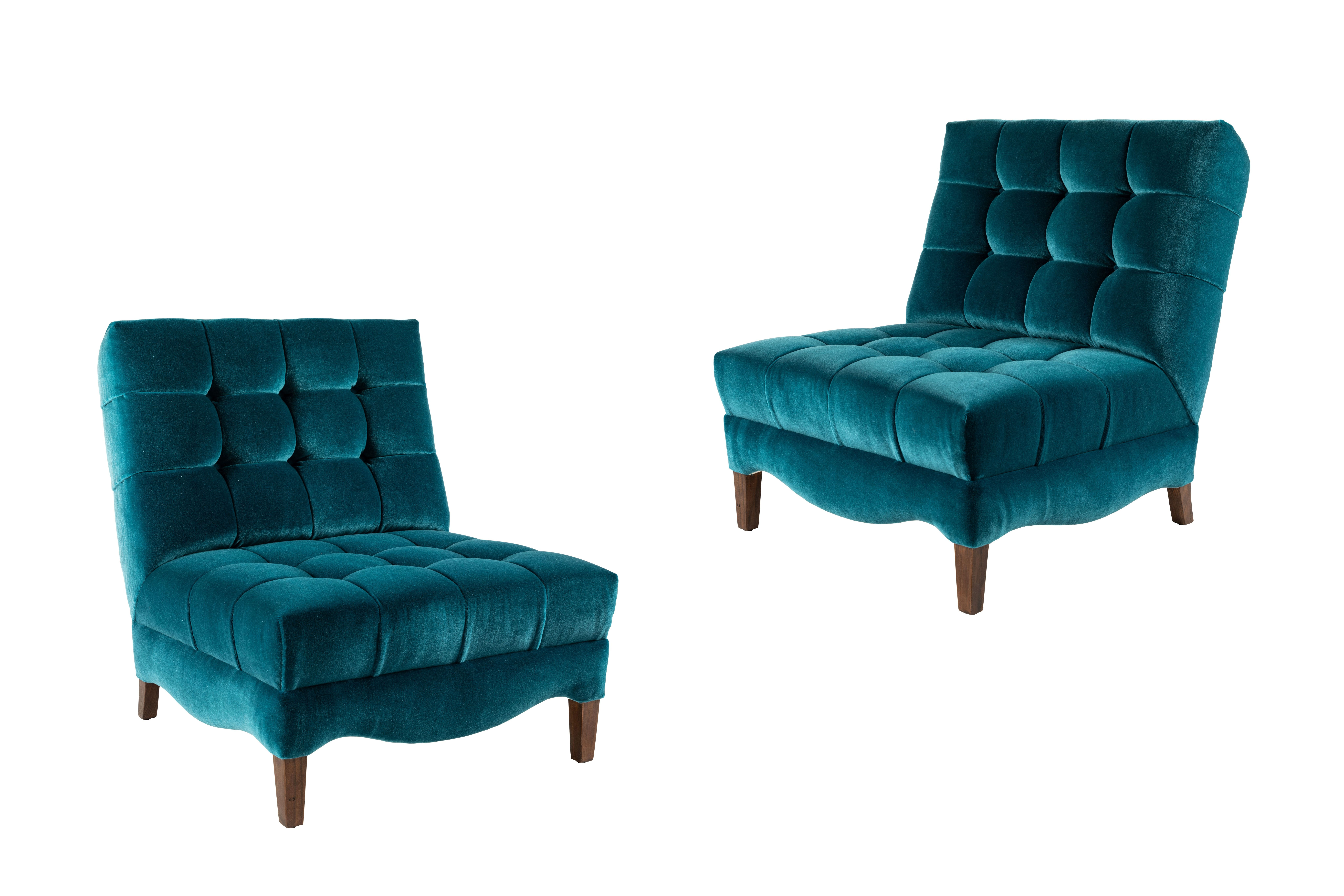 Pair of BiscuitTufted Slipper Chairs Covered in Mohair by