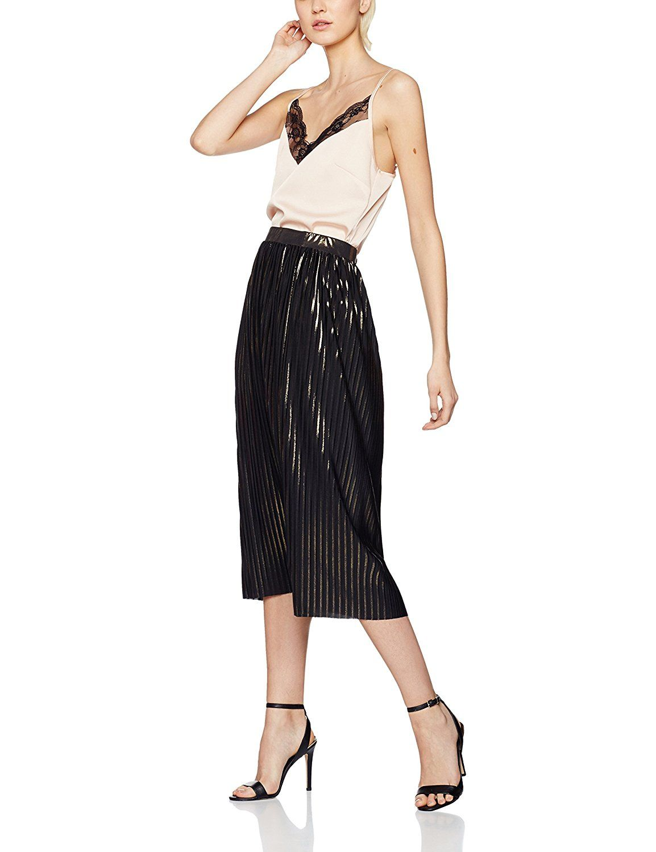 Find Women S Metallic Pleated Midi Skirt Amazon Co Uk Clothing