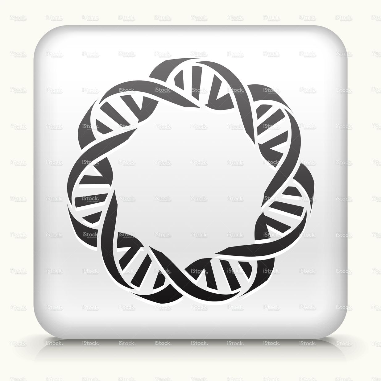 White Square Button with DNA Icon Vector free, Free