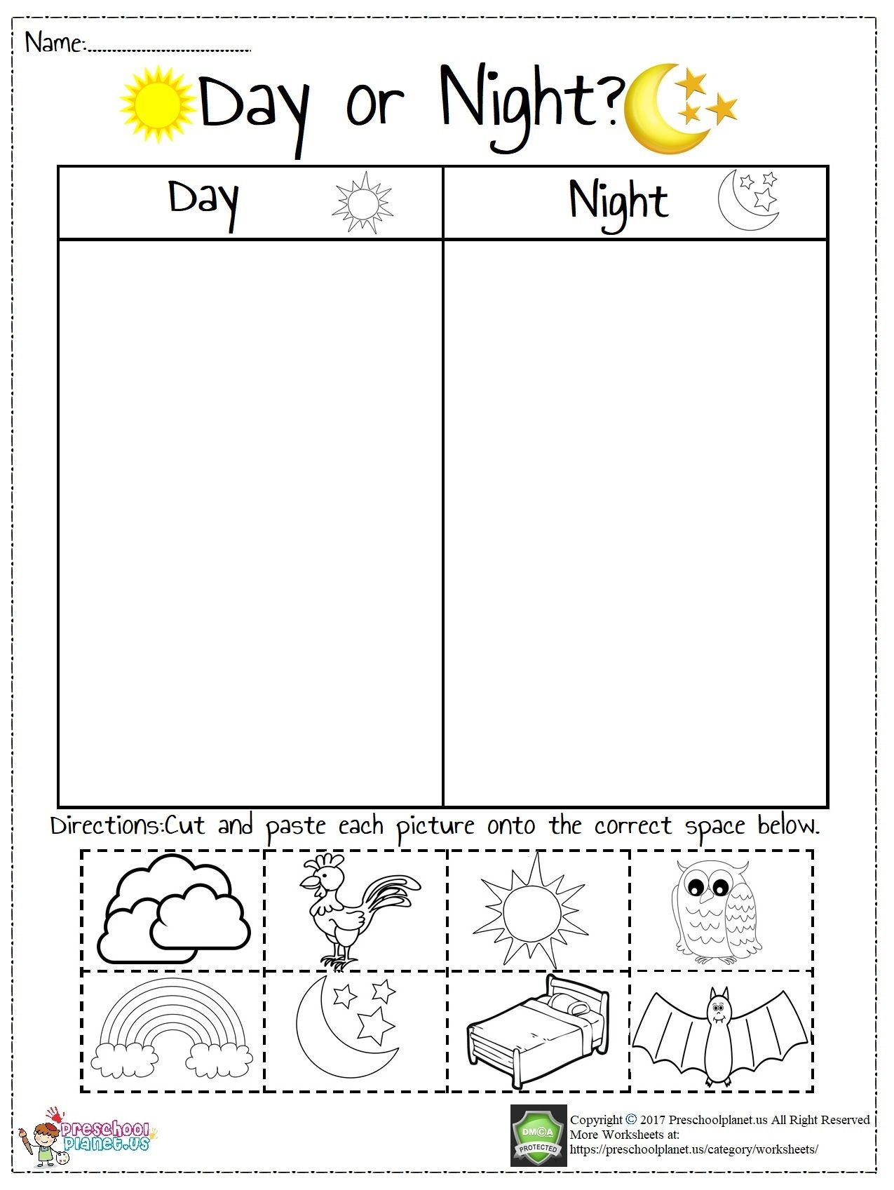 Today We Prepared A Worksheet About Day And Night There Are Pictures Which Are A Sight Words Kindergarten Activities Kids Math Worksheets Preschool Worksheets