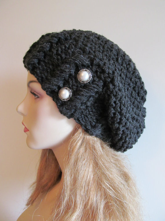 Black Heather Oversized Slouchy Beanie Slouch Hats Baggy Beret