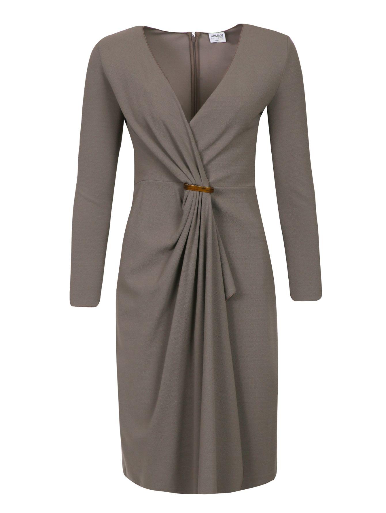 Купить со скидкой Armani Collezioni серое платье с драппировкой и глубоким декольте (71336) – распродажа в Боско Аутлет
