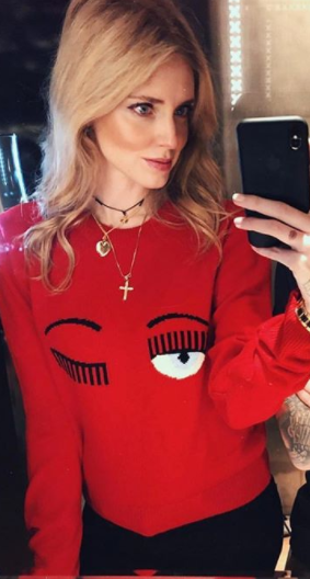 Chiara Ferragni wears a red flirting sweater by Chiara Ferragni Collection 09474d7cecd