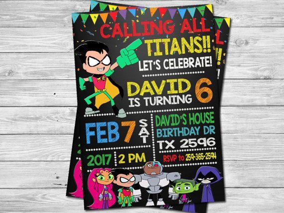 Teen Titans Go Birthday Party Invitation, Digital printable DIY Birthday Invitation, Teen Titans Go Invite, Teen Titans Go Printable Invite