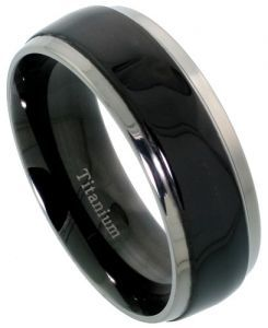 Men's Comfort Fit Titanium Wedding Band 8mm Black Satin Finish