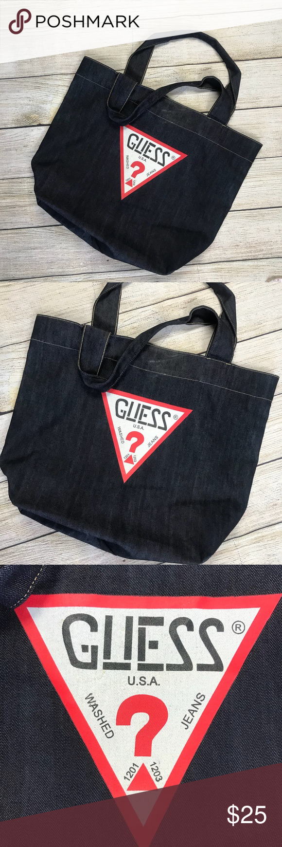 VINTAGE Guess denim jean tote bag purse Excellent condition! Please see the  photos I have attached. If you need measurements feel free to ask! fc2709ad92