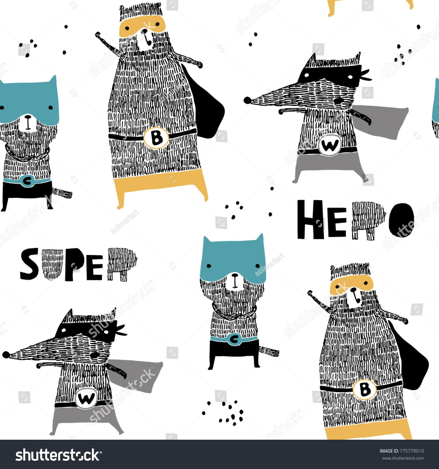 Seamless pattern with hand drawn catbear wolf hero Creative childish texture in scandinavian style Great for fabric textile Vector Illustration