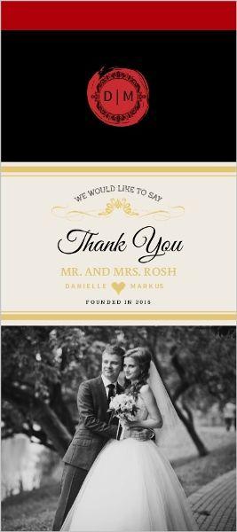Elegant Wine Bottle Wedding Thank You Card By Weddingpaperie Com