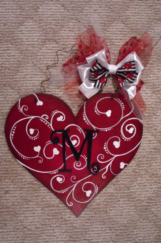 Valentine's Day Heart Hand Painted Wooden Door Han