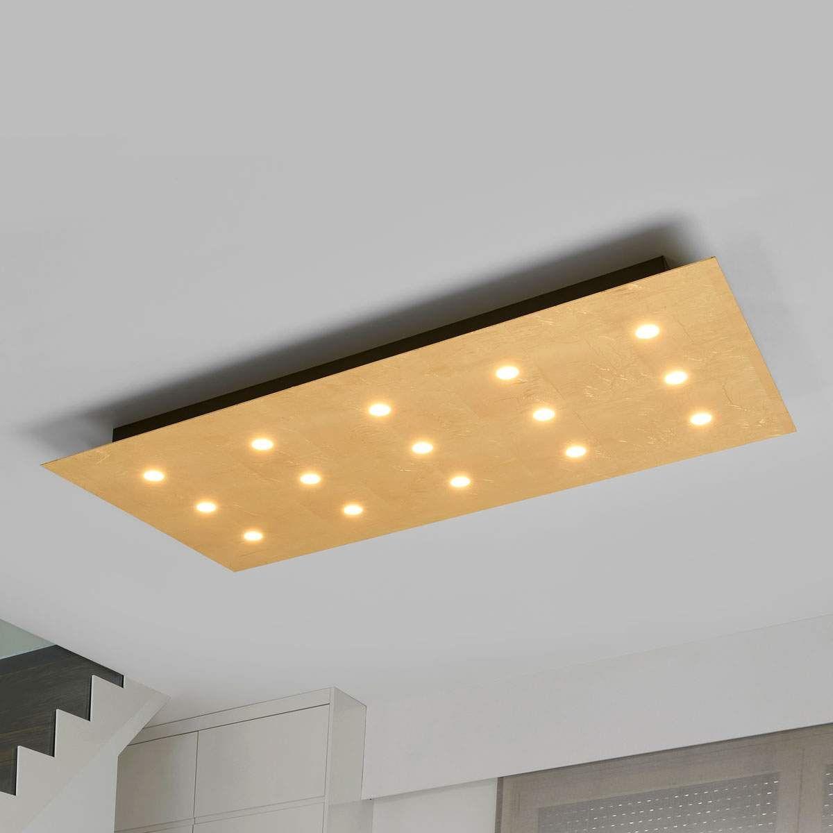 Mit 15 Leds Dimmbare Deckenleuchte Juri In Gold Von Lampenwelt Com Beleuchtung Decke Dekorative Lampen Wohnraum Beleuchtung