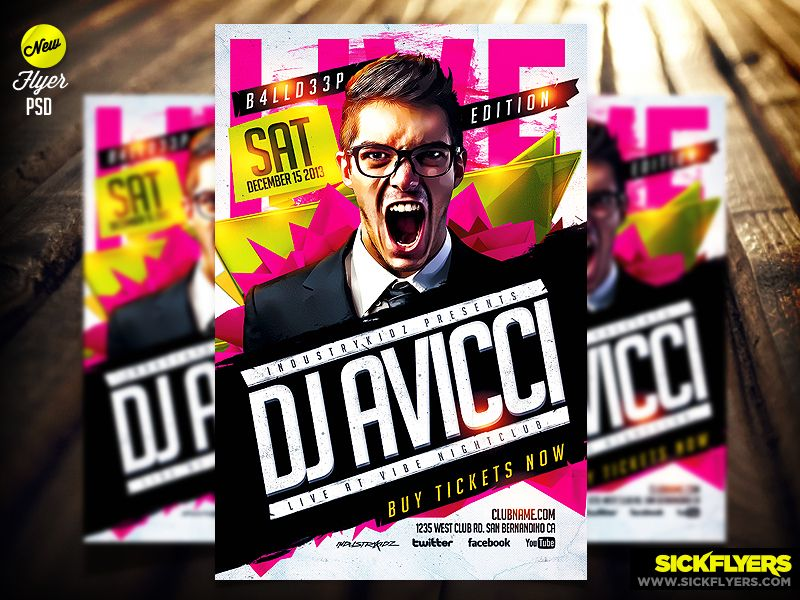 Electro House Music Flyer Template Psd by Industrykidz