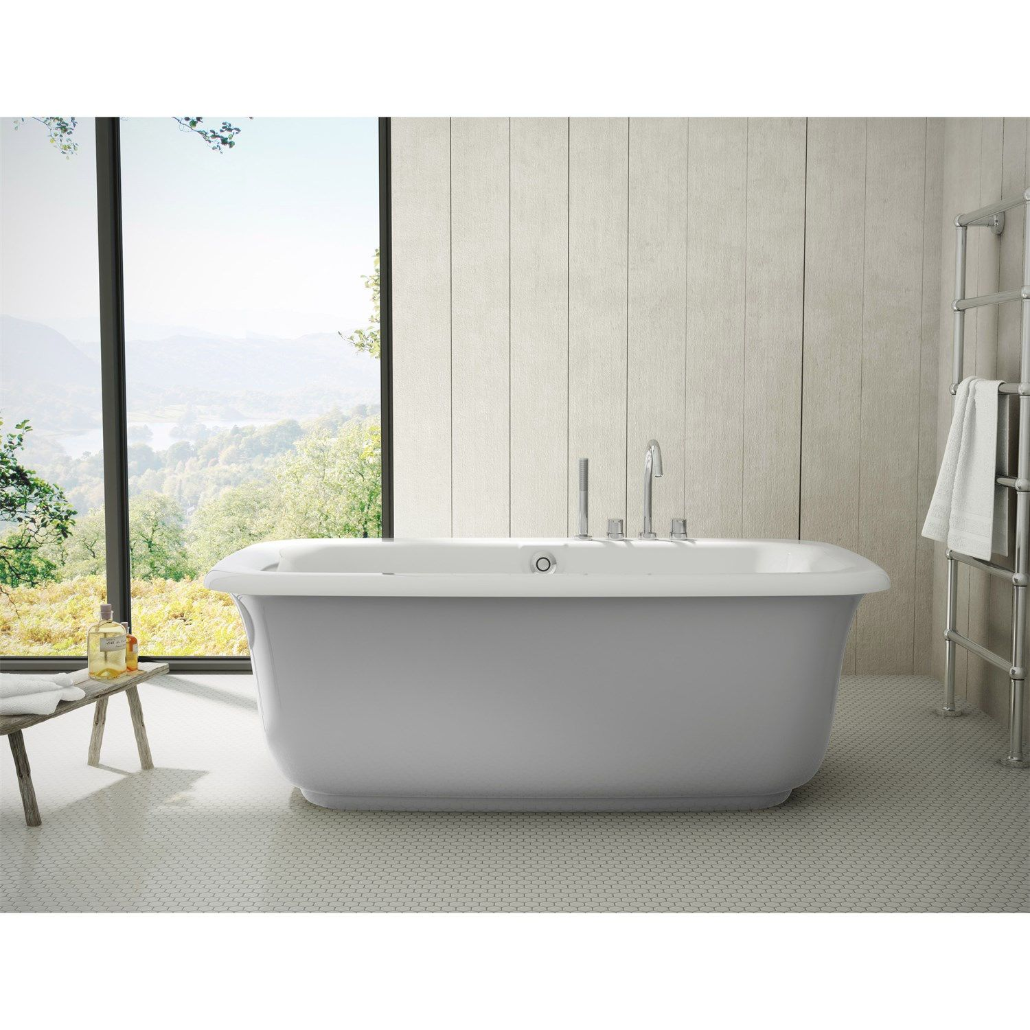 Maax 105756-000-006 Miles Freestanding Bathtub with Sterling Silver ...