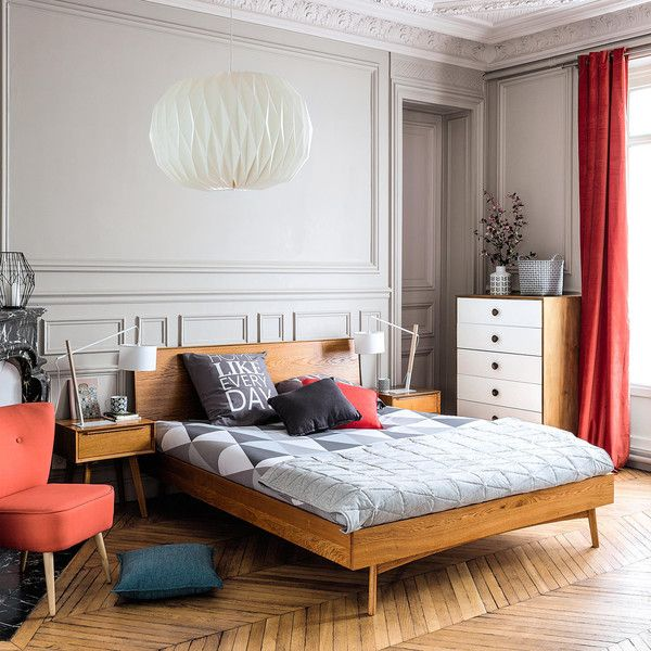 Vintage Massives Eichenbett, 160x200 Schlafzimmer, Mond und Sofa - schlafzimmer mit metallbett