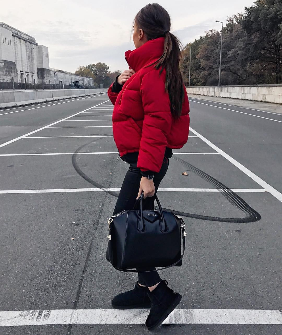 ea52fd7a5f6 Cute red puffer jacket with all black. Fall Winter Outfits