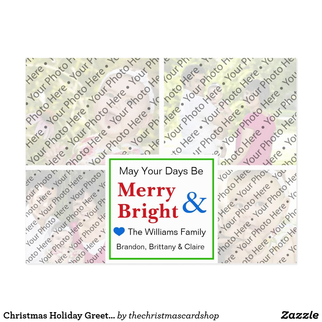 Christmas holiday greeting card with custom photos holiday christmas holiday greeting card with custom photos share your beautiful family photos with your friends and family with this custom photo collage christmas kristyandbryce Images