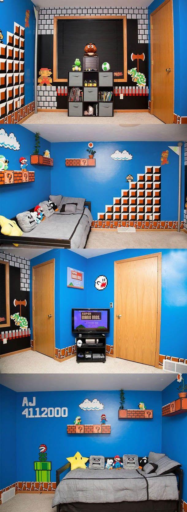 Juste une chambre qu 39 un p re a fait pour son fils deco jeux videos en 2019 pinterest salle - Deco chambre mario ...