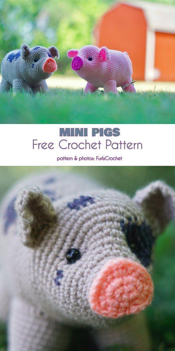 Mini Pigs Free Crochet Pattern - Wiezu #crochetanimalamigurumi