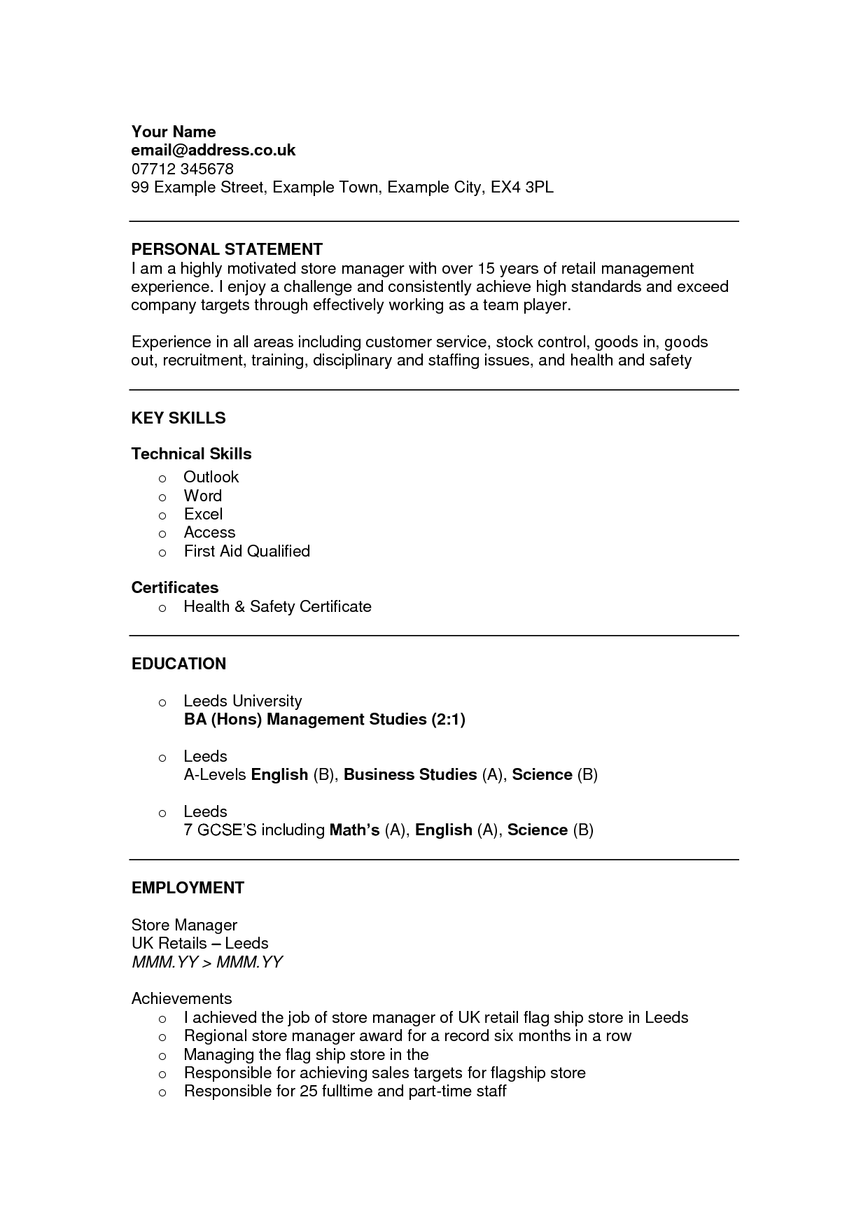 cv personal statement for part
