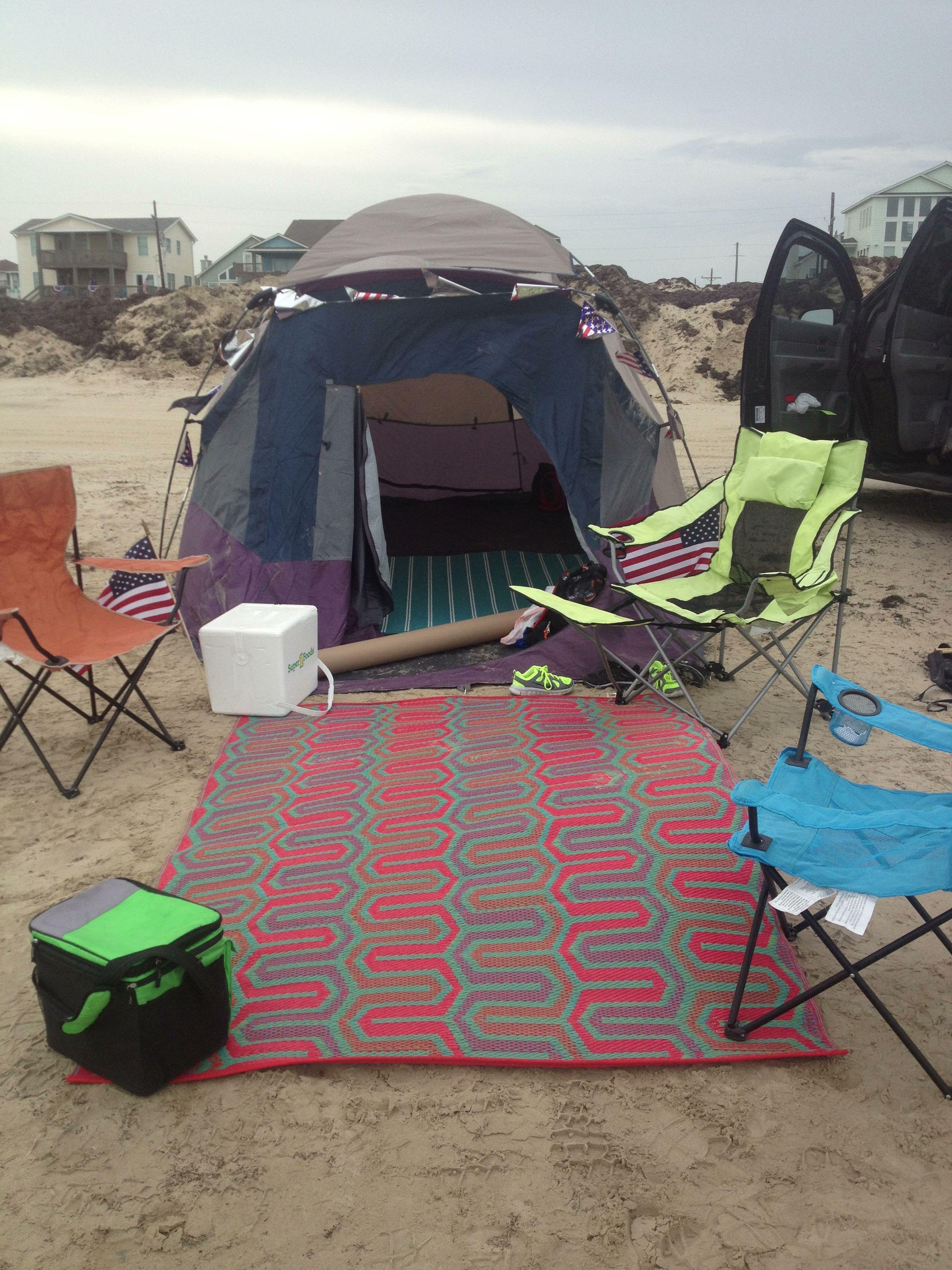 Almost Set Up Camping At Bolivar Peninsula Galveston Tx