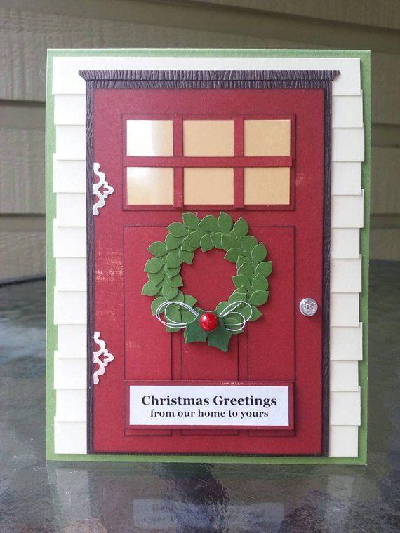 Handmade wreath on door Christmas card