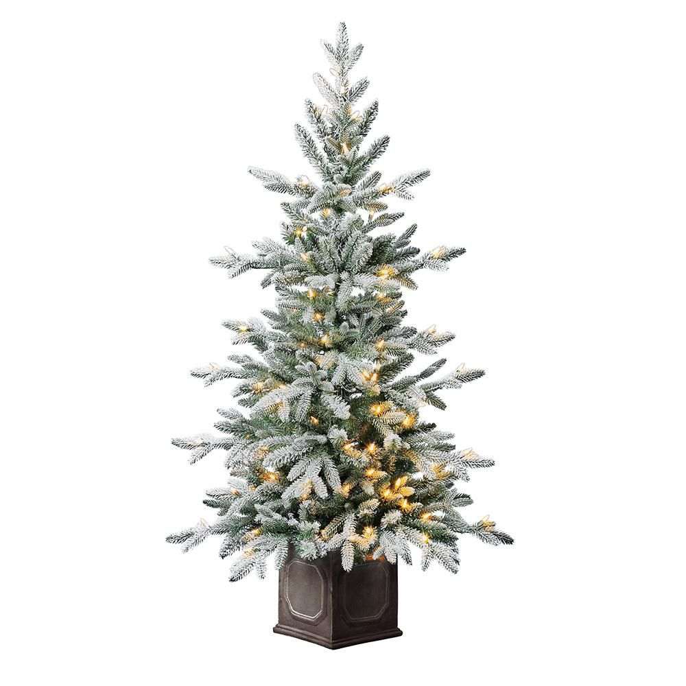 Home Accents Holiday 4 5 Ft Led Pre Lit Sugared Potted Artificial Christmas Tree With 100 Warm White Lights Tv46p3c59l00 The Home Depot In 2020 Artificial Christmas Tree Flocked Artificial Christmas Trees Christmas Tree