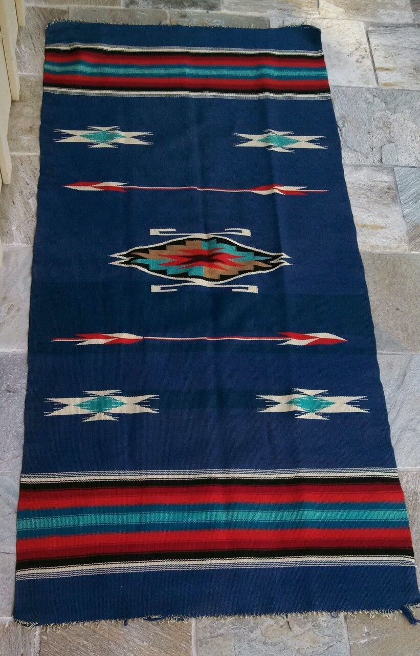 70 X 33 Old Chimayo Wool Rug Or Blanket Native American Spanish Influence