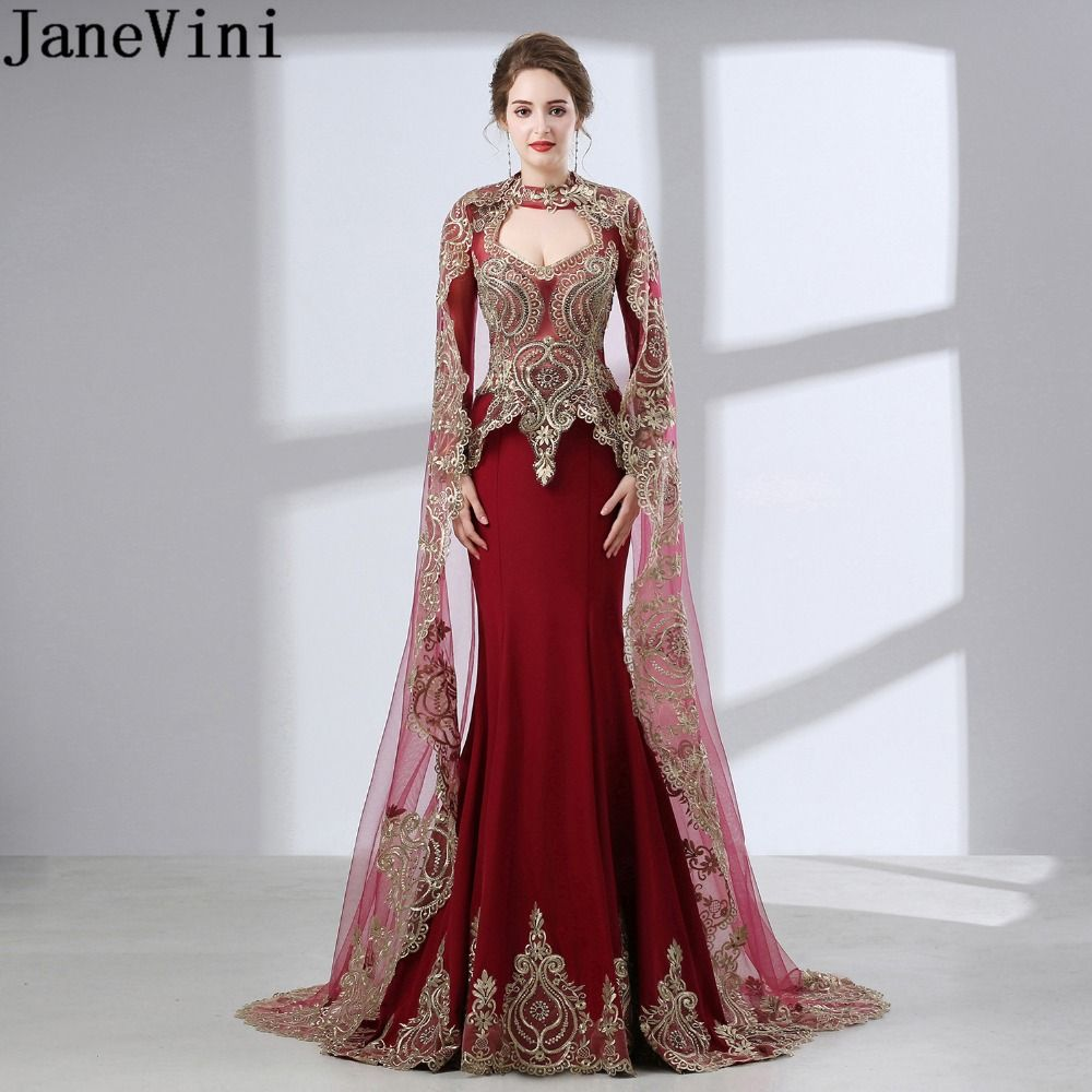 JaneVini Arabic Burgundy Evening Dress With Jacket Long Sleeves Beaded Cape  Dress Mother Of The Bride Dubai Dinner Dress 2018 a2355bb32fa9