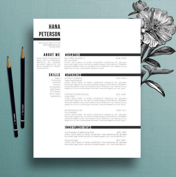 Modèle de résumé professionnel, modèle de lettre de couverture, modèle de références, mot de MS, modèle créateur de résumé, téléchargement numérique instantané, Hana