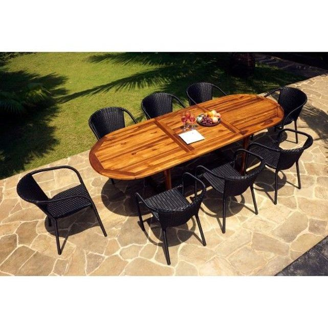salon de jardin table teck 240 cm et 8 fauteuils en r sine. Black Bedroom Furniture Sets. Home Design Ideas