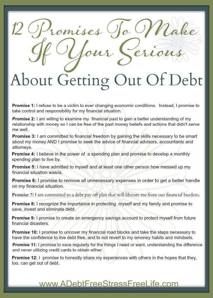Are you determined to be debt free? These promises will help keep - spreadsheet for monthly expenses