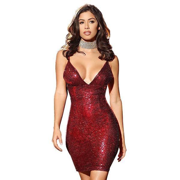 Hot Sale Low Cut Sexy Sequins Dress  130a92ff0