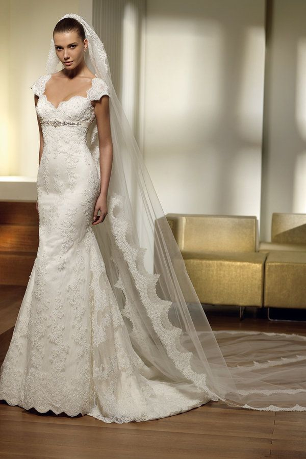 Spanish lace wedding dress with cap sleeves and long train. LOVE ...
