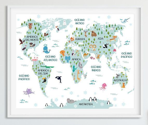 Childrens world map in spanish spanish map kids world map animal childrens world map in spanish spanish map kids world map animal world map spanish nursery map kids map childrens map map decor spanish printable gumiabroncs Image collections