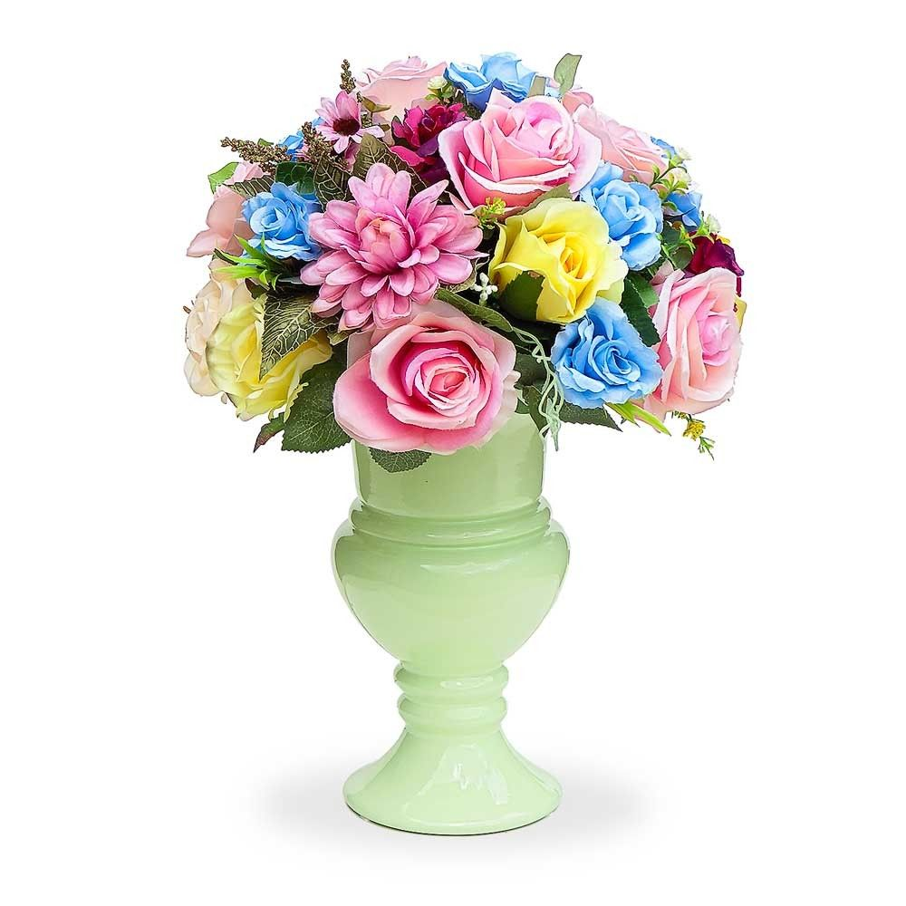Arranjo De Flores Artificiais Rosas Crisantemos Coloridos No Vaso