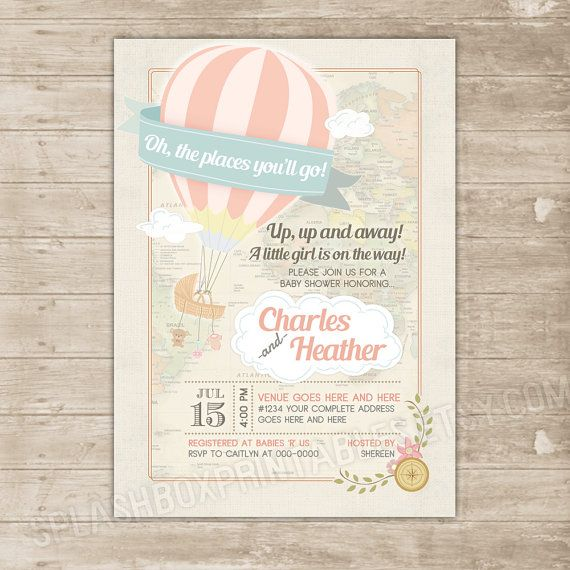 hot air balloon baby shower invitation - oh the places you'll go, Baby shower invitations