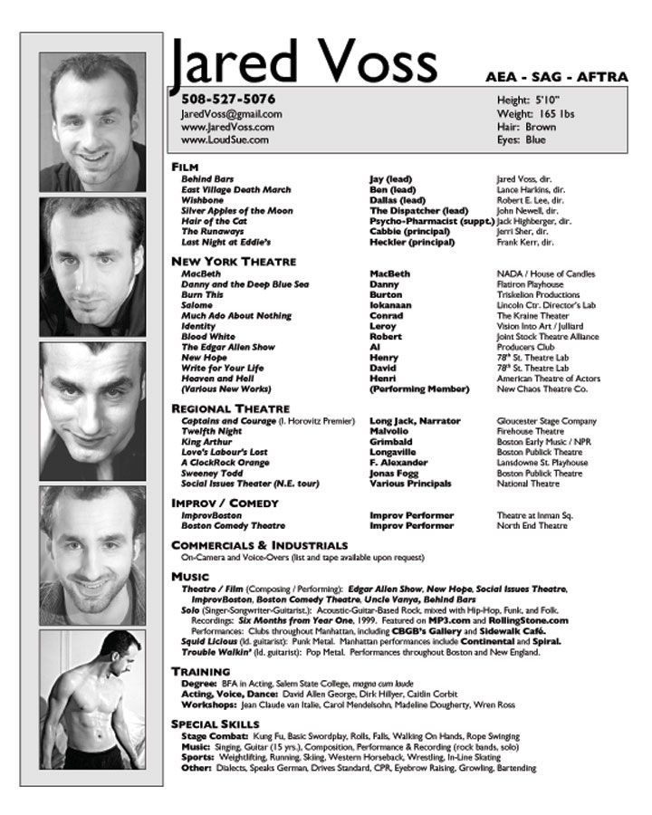 link to sample acting resumes - Theater Resume Sample