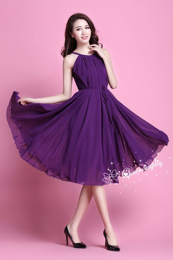 6d5df82651bc7 110 Colors Chiffon Dark Purple Knee Skirt Party Dress Evening Wedding  Lightweight Sundress Summer Holiday Maternity Dress Bridesmaid Skirt in  2019 ...