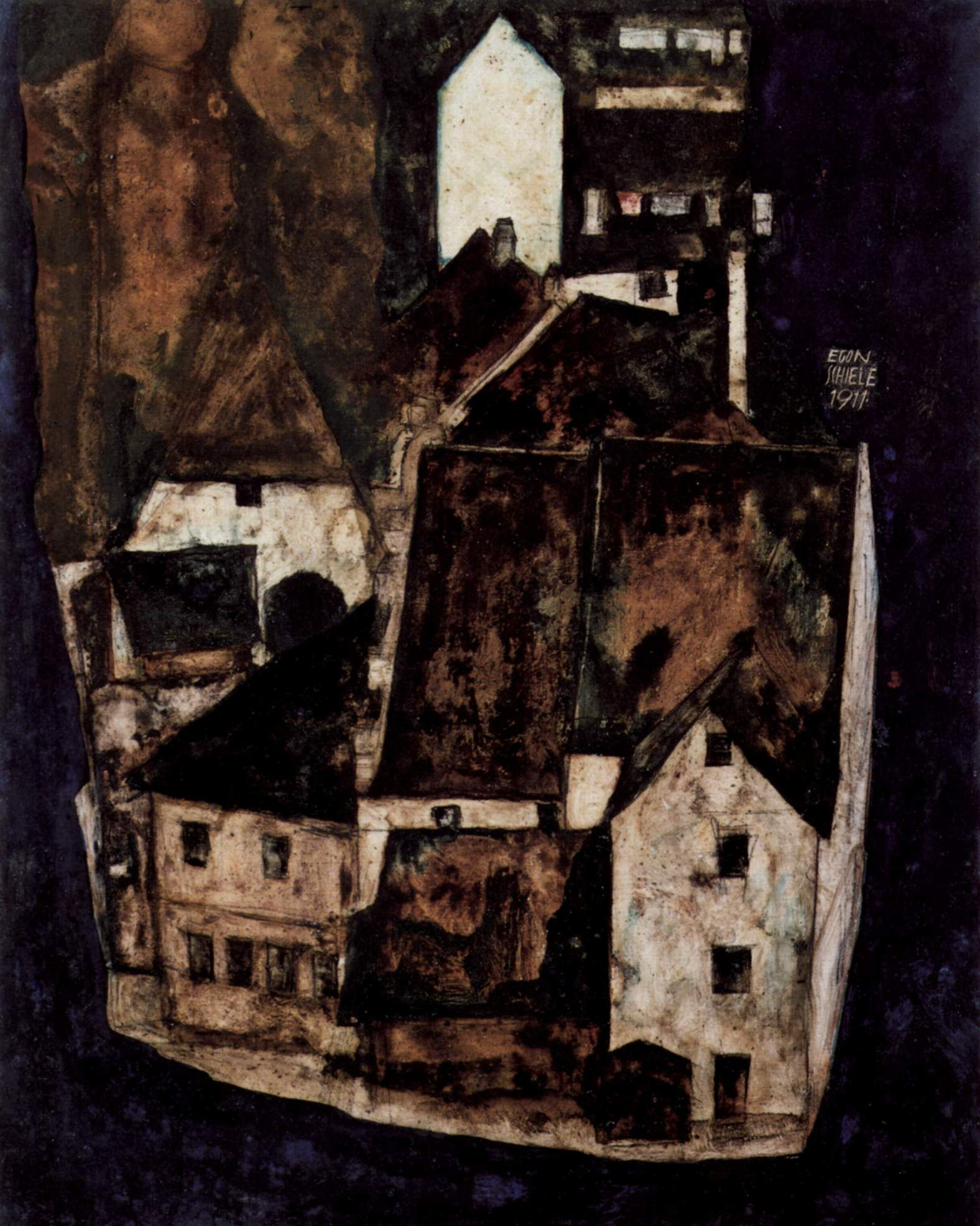 Dead city or city on the blue river by Egon Schiele