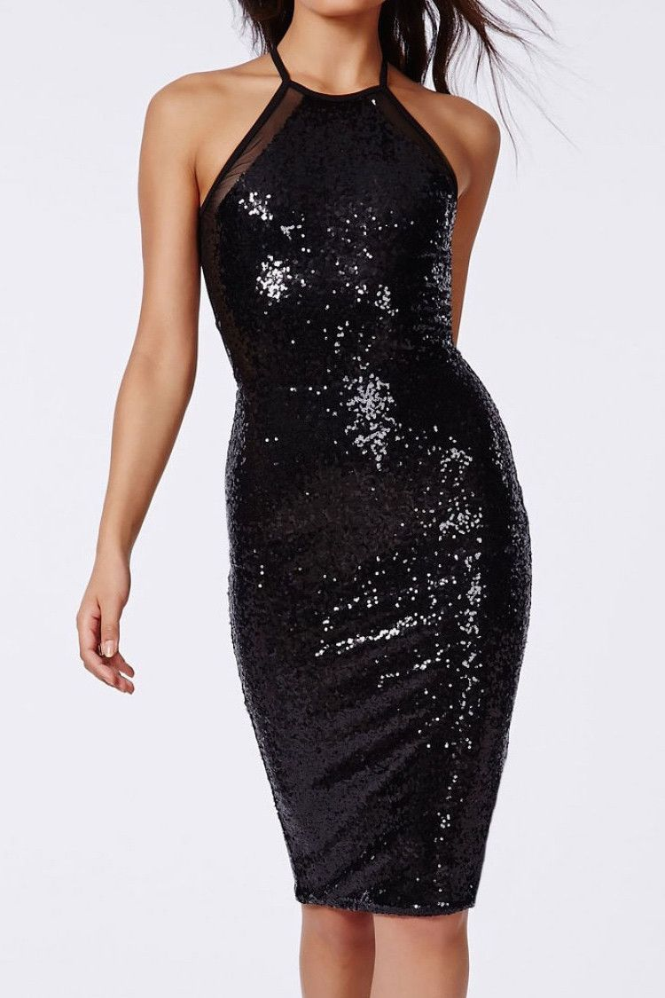 11788ddd0ff Danna Black Sequin Midi Dress