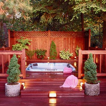 18 Deck Privacy Ideas For A Perfectly Secluded Outdoor Retreat Hot Tub Outdoor Hot Tub Privacy Backyard