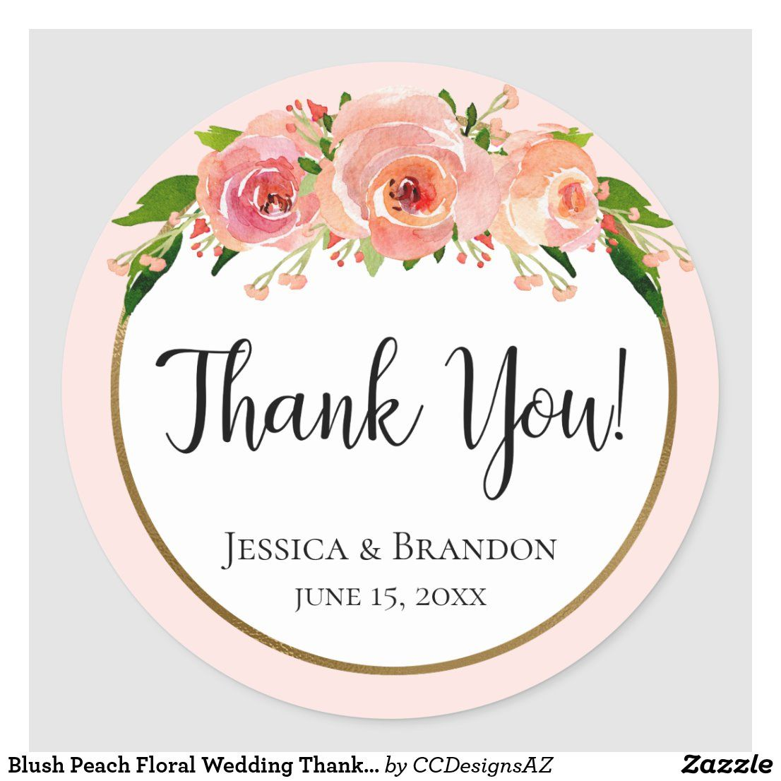 Blush Peach Floral Wedding Thank You Sticker In 2020 Wedding Stickers Labels Wedding Stickers Thank You Stickers