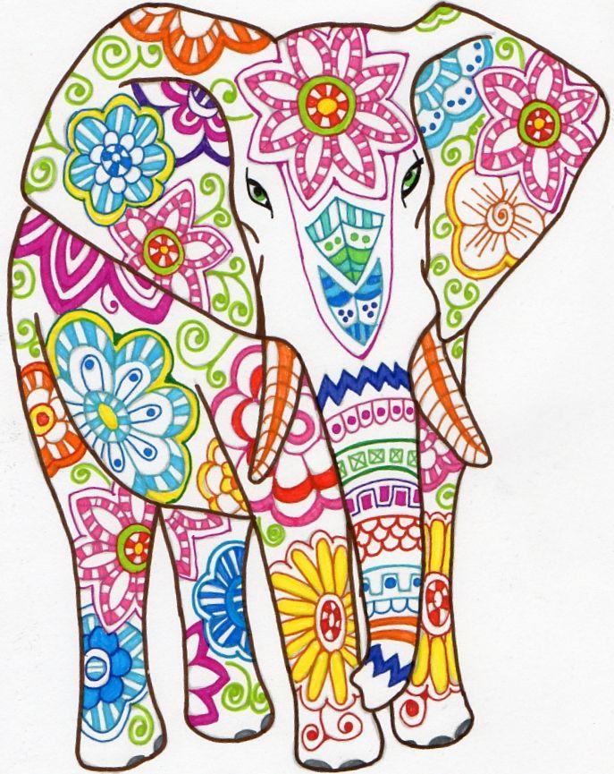 Elephant Zentangle Coloring Elefantes Bordados Elefantes Pintados Dibujo De Elefante