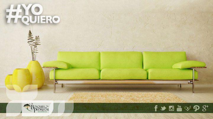El verde es un color básico para tu hogar, potencializa la luz natural y transmite una sensación de comodidad. ¡Atrévete a usarlo!