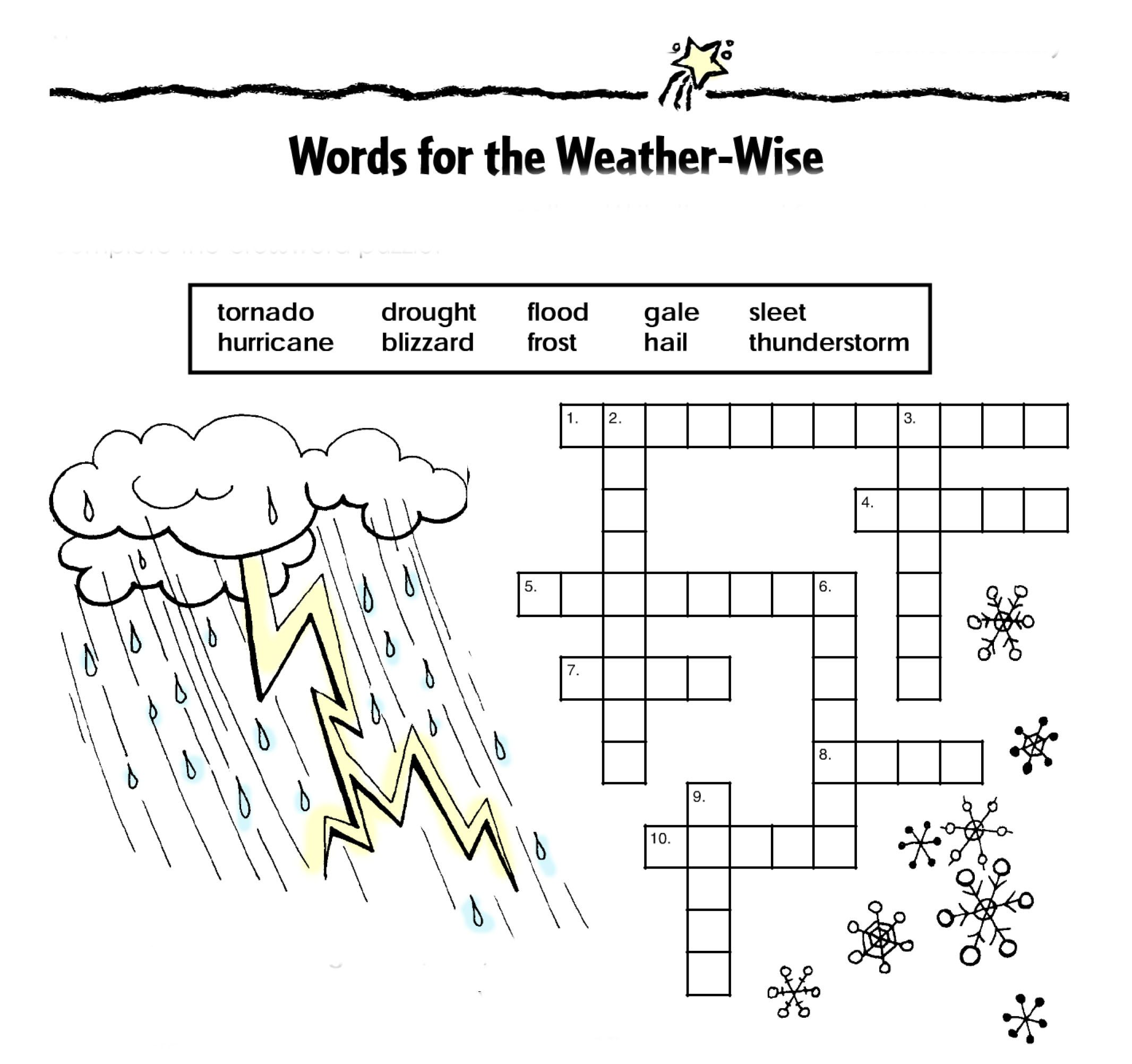 Words For The Weather Wise This Activity Will Reinforce