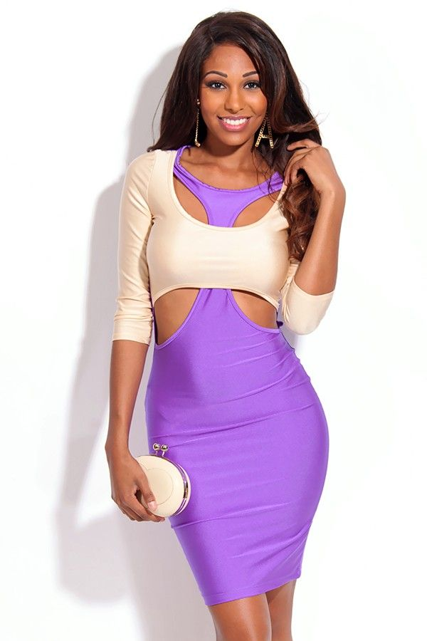 Sexy fashion dress quality clubwear dresses purple beige two tone ...