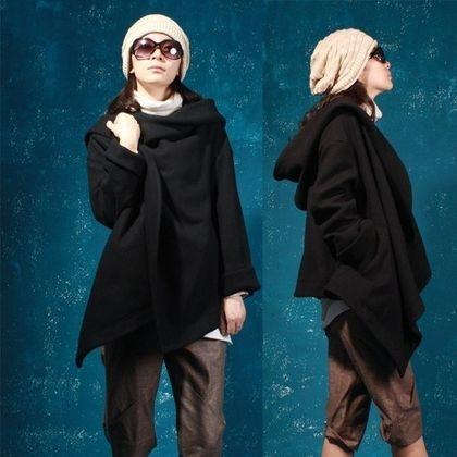 Black short overcoat wavetype mantle by yuan123 on Etsy - StyleSays