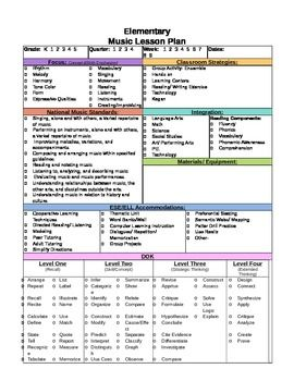 Elementary music lesson plan template music pinterest for Teachers college lesson plan template