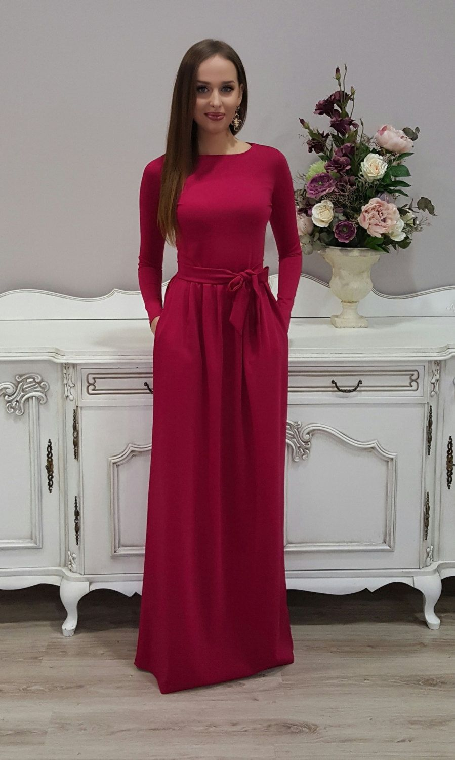 c4248f3f52 A dress crimson color with raspberry undertone. ❖ Waist with elastic,  stretch it according to your waist size. ❖ Fabric belt- sash. ❖ If you wish  V neck, ...