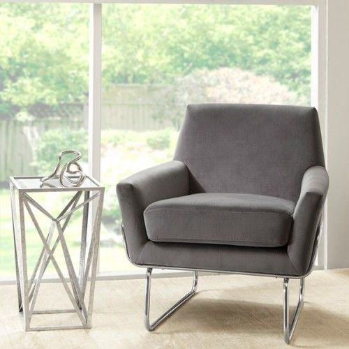 Remarkable Grey Velvet Chrome Mod Accent Chair Grey Silver Cjindustries Chair Design For Home Cjindustriesco