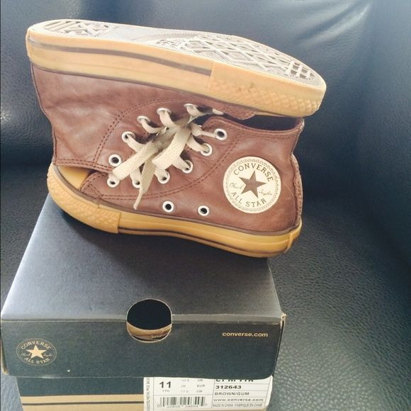 brown converse kids
